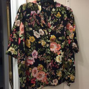 Zara Flowery Oversized Blouse